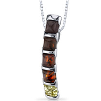 Five Stone Baltic Amber Pendant Necklace Multiple Colors Sterling Silver SP11114 SP11114