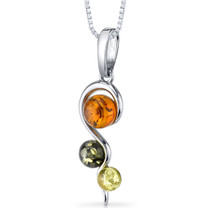 Three Stone Baltic Amber Spiral Pendant Necklace Sterling Silver Green Honey Cognac Colors SP11118 SP11118