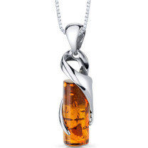 Baltic Amber Cylindrical Pendant Necklace Sterling Silver Cognac Color SP11126 SP11126