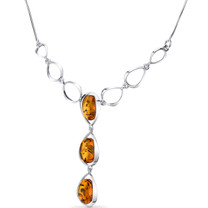 Three Stone Baltic Amber Necklace Sterling Silver Cognac Color Oval Shape SP11128 SP11128