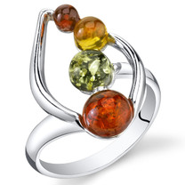 Baltic Amber Open Leaf Ring Multiple Colors Sterling Silver Sizes 5-9 SR11298