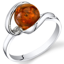 Baltic Amber Open Spiral Ring Sterling Silver Cognac Color Round Shape Sizes 5-9 SR11302