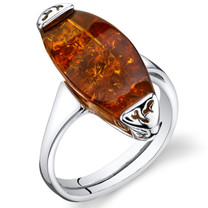 Baltic Amber Gallery Ring Sterling Silver Cognac Color Sizes 5-9 SR11304
