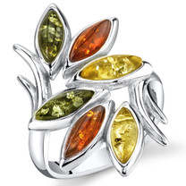 Baltic Amber Leaf Branch Ring Sterling Silver Multiple Colors Sizes 5-9 SR11320
