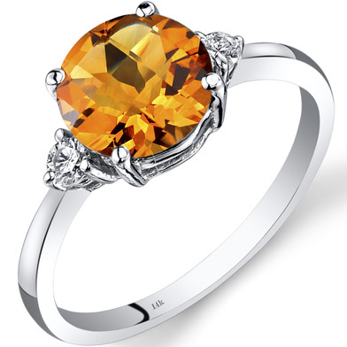 14K White Gold Citrine Diamond Ring 1.75 Carat Round Cut