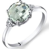 14K White Gold Green Amethyst Diamond Ring 1.75 Carat Round Cut