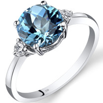 14K White Gold Swiss Blue Topaz Diamond Ring 2.25 Carat Round Cut