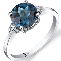 14K White Gold London Blue Topaz Diamond Ring 2.25 Carat Round Cut