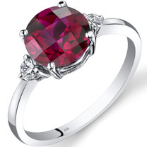 14K White Gold Created Ruby Diamond Ring 2.50 Carat Round Cut