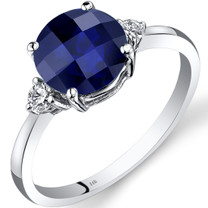 14K White Gold Created Sapphire Diamond Ring 2.50 Carat Round Cut