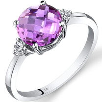 14K White Gold Created Pink Sapphire Diamond Ring 2.50 Carat Round Cut