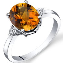 14K White Gold Citrine Diamond Ring 2.25 Carat Oval Cut