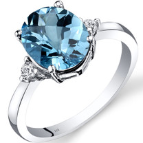 14K White Gold Swiss Blue Topaz Diamond Ring 2.75 Carat Oval Cut