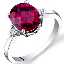 14K White Gold Created Ruby Diamond Ring 3.50 Carat Oval Cut
