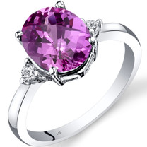 14K White Gold Created Pink Sapphire Diamond Ring 3.50 Carat Oval Cut
