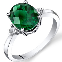 14K White Gold Created Emerald Diamond Ring 2.50 Carat Oval Cut