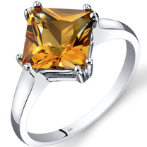 14K White Gold Citrine Solitaire Ring 2.25 Carat Princess Cut