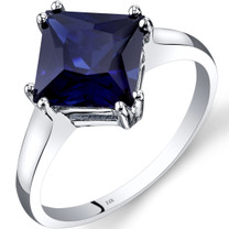 14K White Gold Created Sapphire Solitaire Ring 3.25 Carat Princess Cut