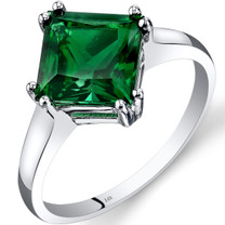 14K White Gold Created Emerald Solitaire Ring 2.00 Carat Princess Cut