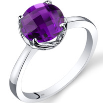 14K White Gold Amethyst Solitaire Ring 1.75 Carat Checkerboard Cut