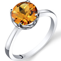 14K White Gold Citrine Solitaire Ring 1.75 Carat Checkerboard Cut