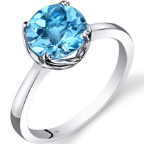 14K White Gold Swiss Blue Topaz Solitaire Ring 2.25 Carat Checkerboard Cut