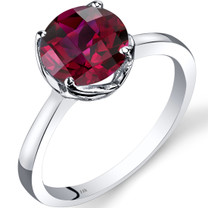 14K White Gold Created Ruby Solitaire Ring 2.50 Carat Checkerboard Cut