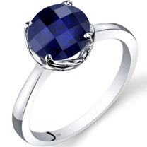 14K White Gold Created Sapphire Solitaire Ring 2.50 Carat Checkerboard Cut