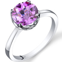 14K White Gold Created Pink Sapphire Solitaire Ring 2.50 Carat Checkerboard Cut