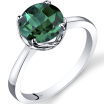 14K White Gold Created Emerald Solitaire Ring 1.75 Carat Checkerboard Cut