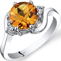 14K White Gold Citrine Diamond 3 Stone Ring 1.75 Carat