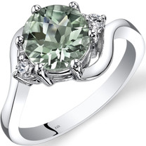 14K White Gold Green Amethyst Diamond 3 Stone Ring 1.75 Carat