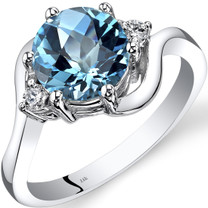 14K White Gold Swiss Blue Topaz Diamond 3 Stone Ring 2.25 Carat