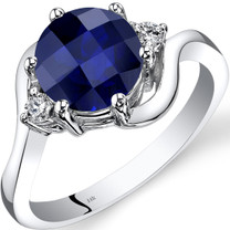 14K White Gold Created Sapphire Diamond 3 Stone Ring 2.50 Carat