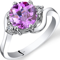 14K White Gold Created Pink Sapphire Diamond 3 Stone Ring 2.50 Carat