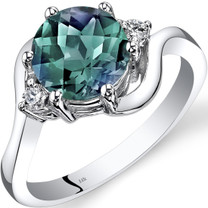 14K White Gold Created Alexandrite Diamond 3 Stone Ring 2.25 Carat
