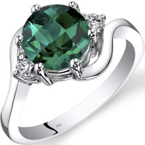 14K White Gold Created Emerald Diamond 3 Stone Ring 1.75 Carat