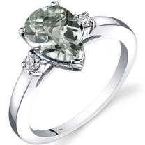 14K White Gold Green Amethyst Diamond Tear Drop Ring 1.50 Carat
