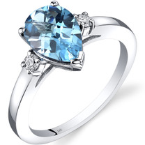 14K White Gold Swiss Blue Topaz Diamond Tear Drop Ring 2.25 Carat