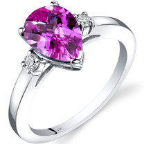 14K White Gold Created Pink Sapphire Diamond Tear Drop Ring 2.50 Carat