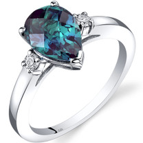 14K White Gold Created Alexandrite Diamond Tear Drop Ring 2.25 Carat