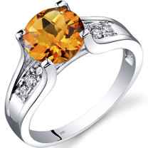 14K White Gold Citrine Diamond Cathedral Ring 1.75 Carat R62264