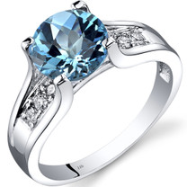 14K White Gold Swiss Blue Topaz Diamond Cathedral Ring 2.25 Carat