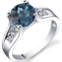 14K White Gold London Blue Topaz Diamond Cathedral Ring 2.25 Carat