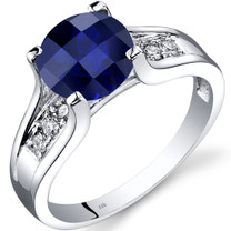 14K White Gold Created Sapphire Diamond Cathedral Ring 2.50 Carat