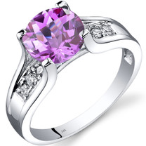 14K White Gold Created Pink Sapphire Diamond Cathedral Ring 2.50 Carat