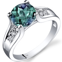 14K White Gold Created Alexandrite Diamond Cathedral Ring 2.25 Carat