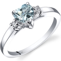 14K White Gold Aquamarine Diamond Heart Ring 0.75 Carat
