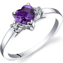 14K White Gold Amethyst Diamond Heart Ring 0.75 Carat