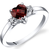 14K White Gold Garnet Diamond Heart Ring 1.00 Carat